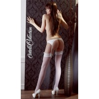 FLORAL TOP STOCKINGS - WHITE