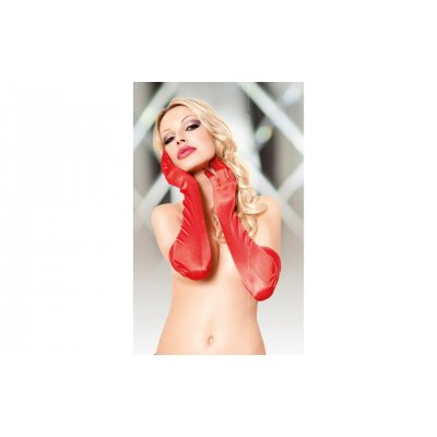 SATIN GLOVES - RED