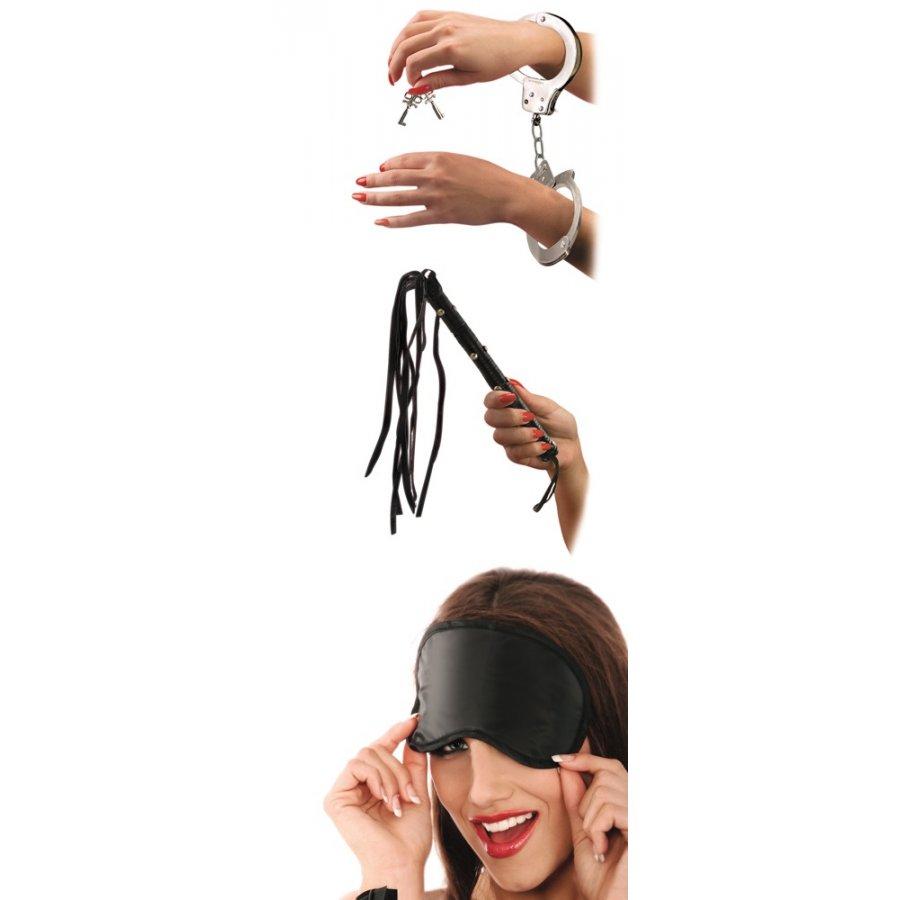 Σετ Μάσκα - Μαστίγιο - Χειροπέδες | Aroma Sex Shop