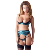 SHELF BRA SET - BLUE/BLACK