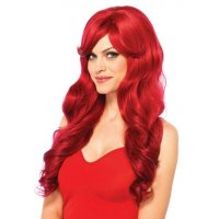 LONG CURLY BRIGHT RED WIG