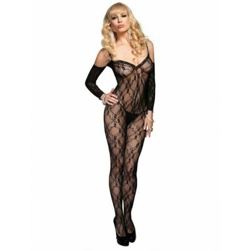 FLORAL SLEEVED BODYSTOCKING